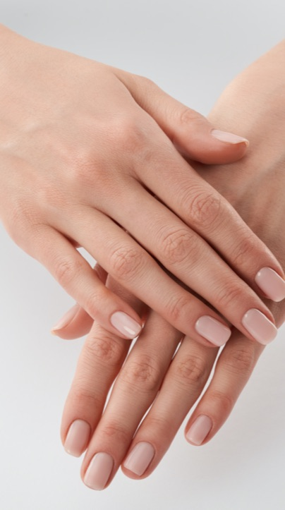 Close up of a woman's hands held together